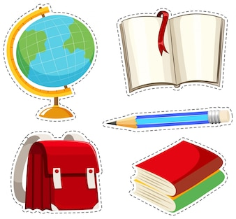 Sticker set with different stationaries illustration