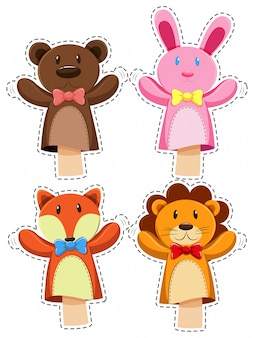 Sticker set with hand puppets illustration