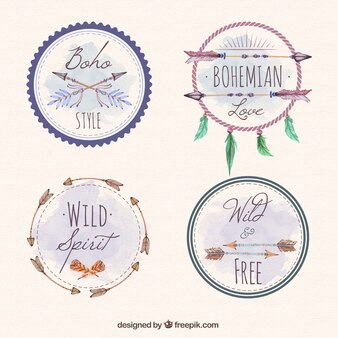 stickers of dream catchers and others in boho style pack