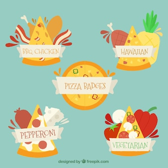 Stickers set of pizzas with ingredients