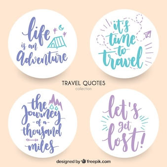 Stickers with travel messages in vintage style