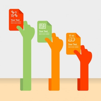 Sticky hand with hand infographic element