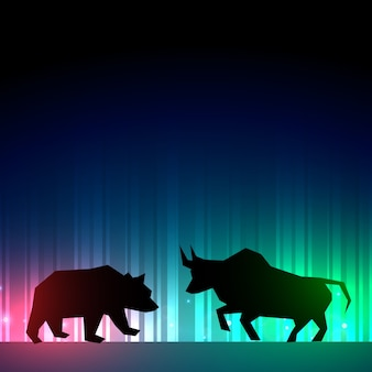 Stock market illustration with bull and bear