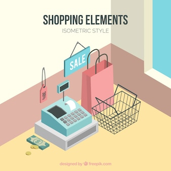Store background with cash register in isometric style