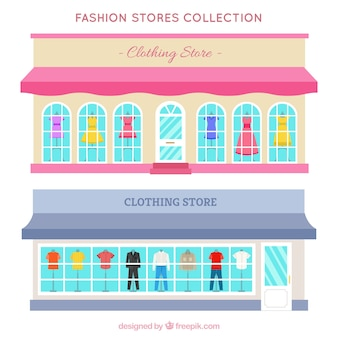 Store facades in flat design