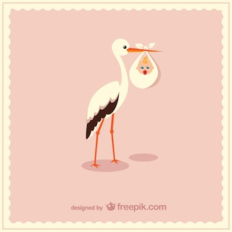 Stork carrying cute baby vector