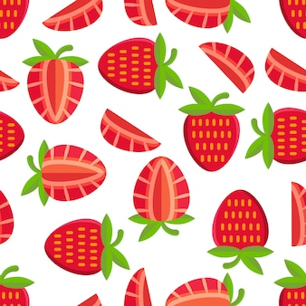 Strawberries pattern background
