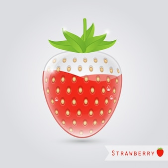 Strawberry juice glass with strawberry inside
