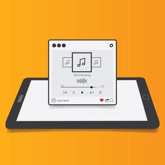 3Dタブレットの背景、モバイルアプリ、スマートフォン、PCまたはタブレット用のフラットデザインスタイルのストリーミングミュージックプレーヤーアプリケーション。清潔でモダン。ベクトルイラストレーション。