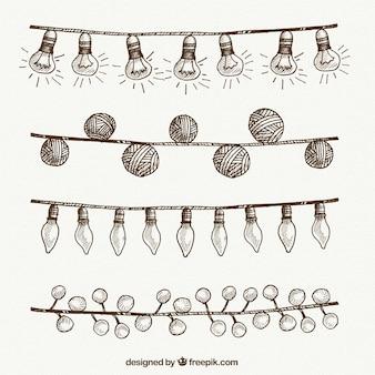 String lights set of hand drawn christmas decoration