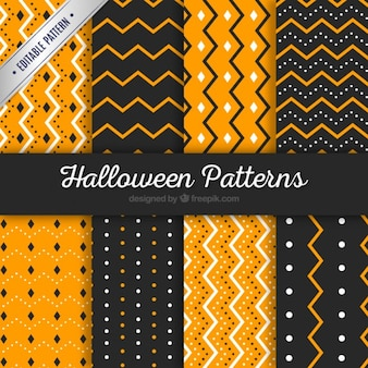 Striped and dotted halloween patterns