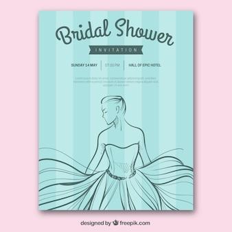 Striped bachelorette invitation with bride