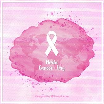 世界がんの日リボンとストライプの背景と水彩汚れ