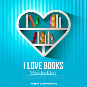 Striped background of heart-shaped shelf with books