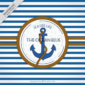 Striped background with anchor and rope