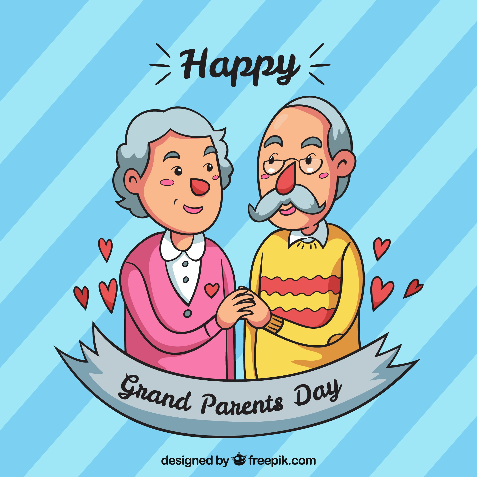 Striped background with couple grandparents illustration
