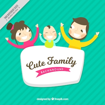 Striped background with family and cute baby
