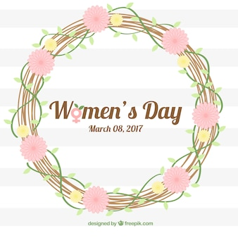 Striped background with floral wreath for women's day