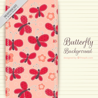 Striped background with flowers and butterflies