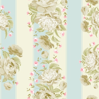 Striped background with flowers