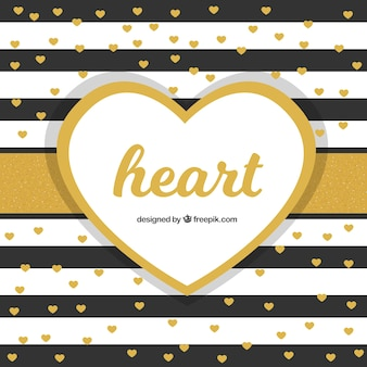 Striped background with golden hearts