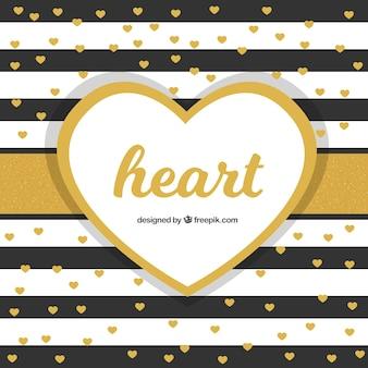黄金の心とストライプの背景