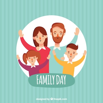 Striped background with happy family in a circle