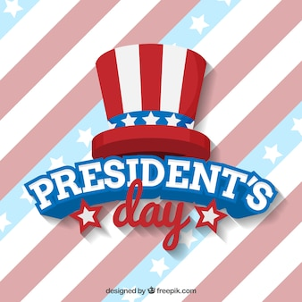 Striped background with hat for president's day
