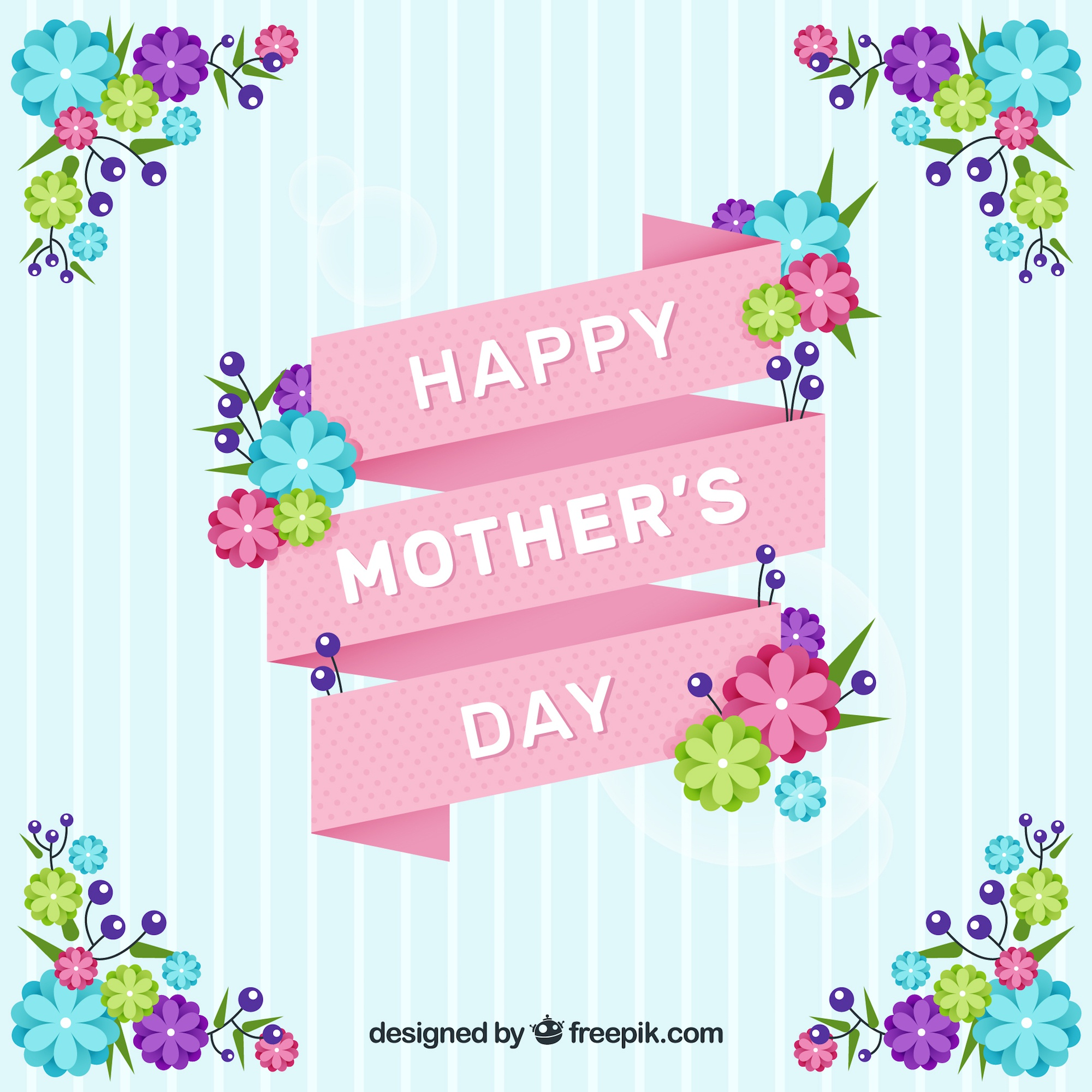 Striped background with pink ribbon and colored flowers for mother's day