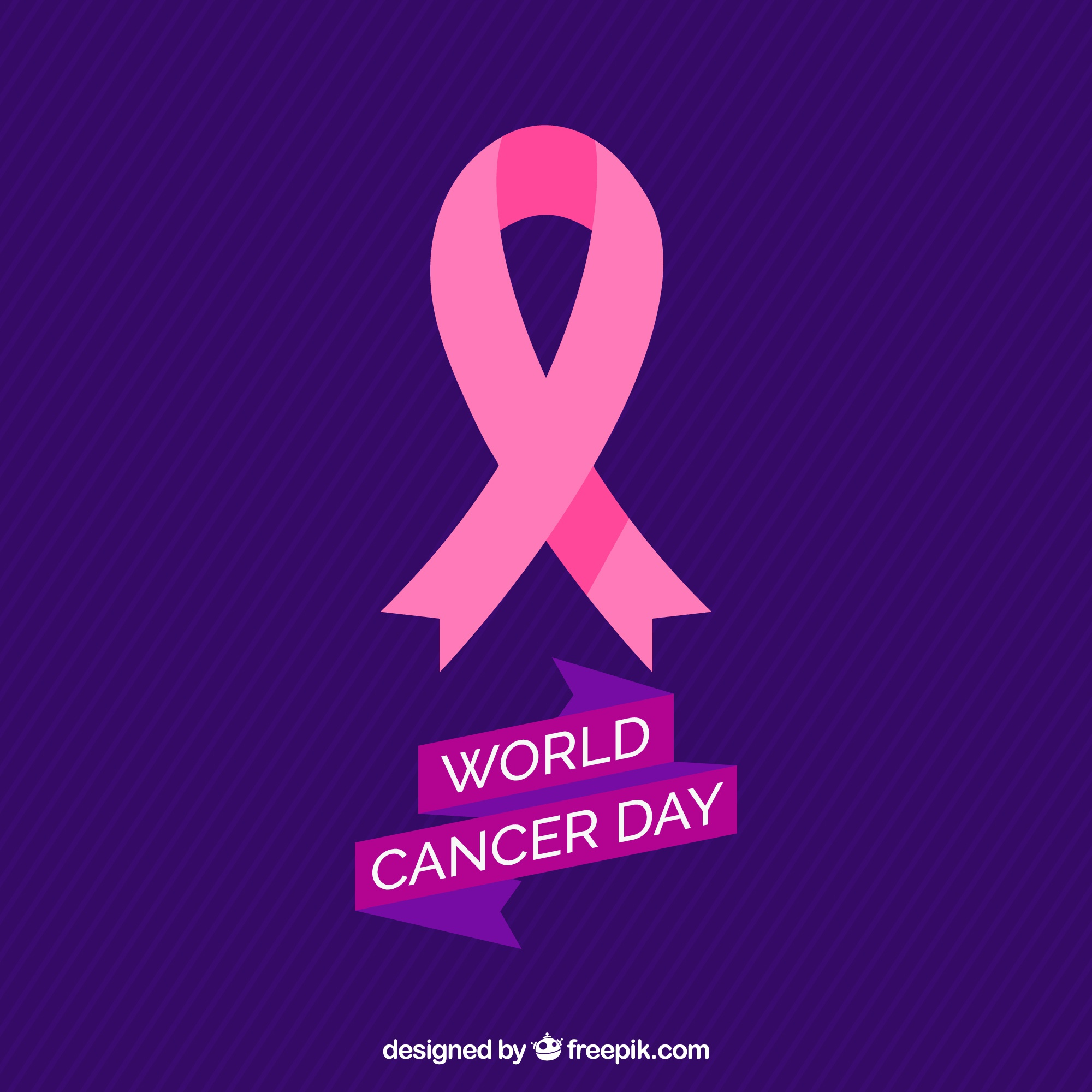 Striped background with pink ribbon for world cancer day