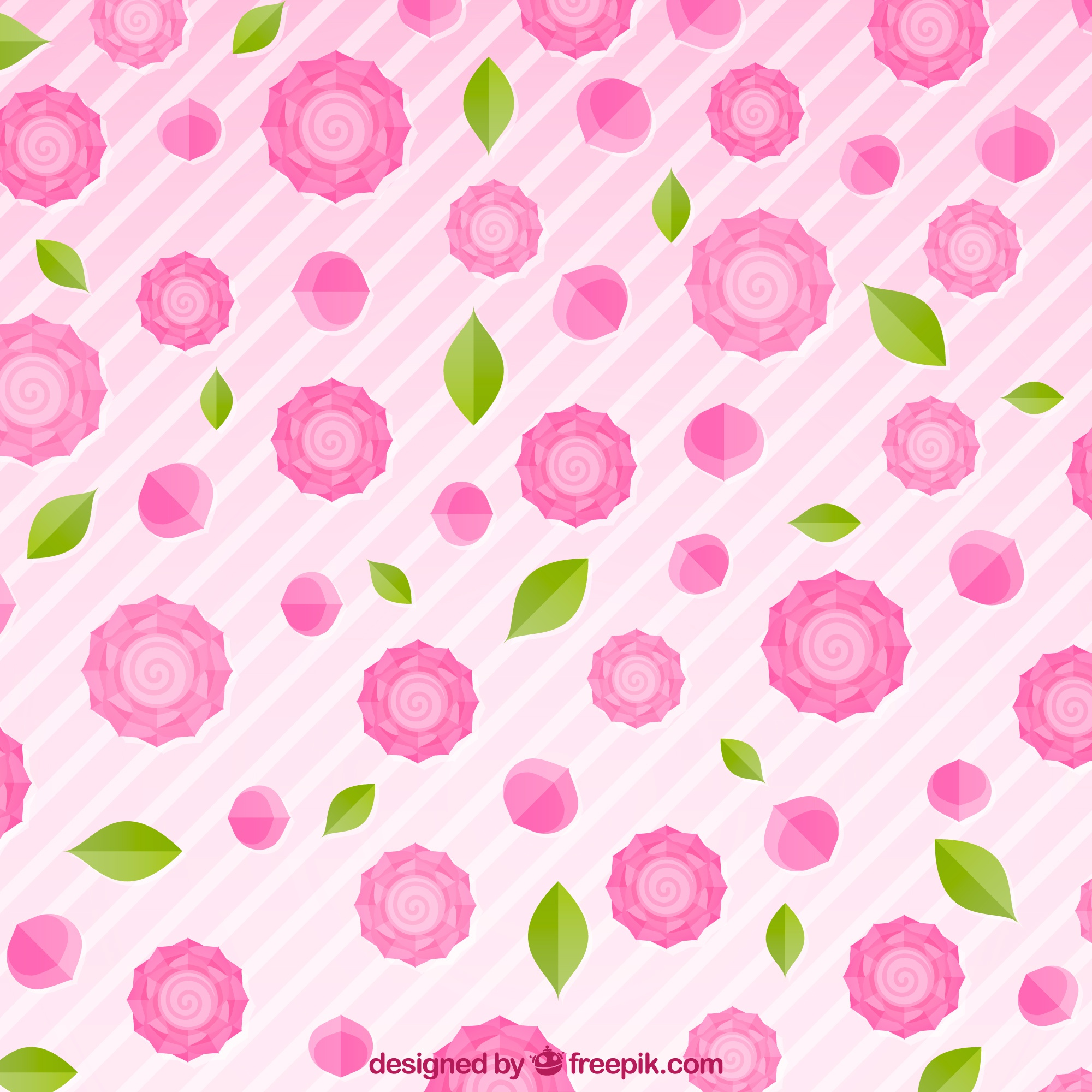 Striped background with pink roses