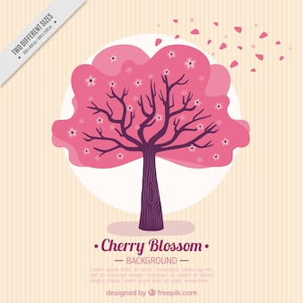 Striped background with pink tree
