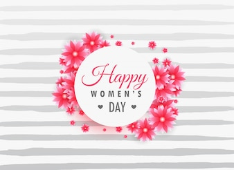Striped background with woman's day flowers