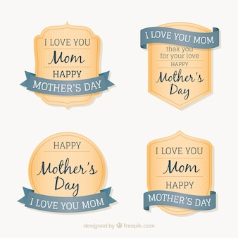 Striped badges with ribbons for mother's day