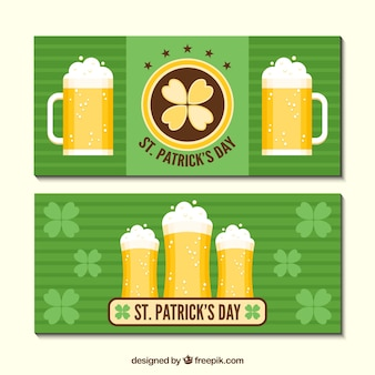 Striped banners with beers for st patrick's day
