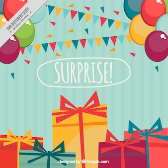 Striped birthday background with balloons and gifts