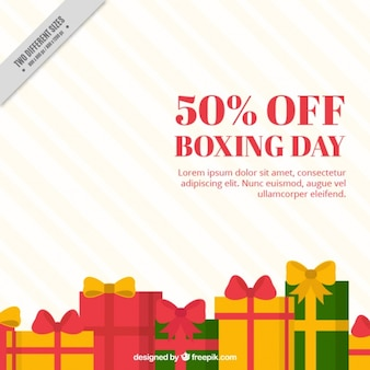 Striped boxing day background with gifts in flat design