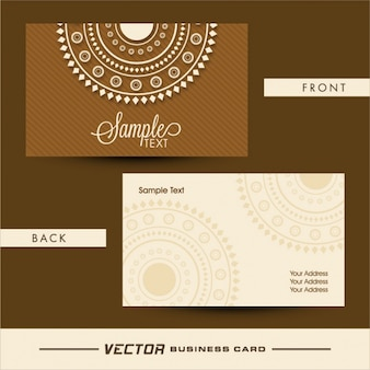 Striped business card with white decoration