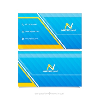 Striped business card with yellow details