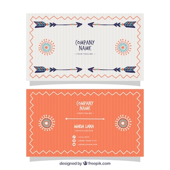 Striped corporate card with ethnic elements