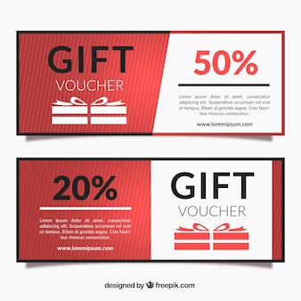 Striped gift vouchers in flat design