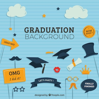 Striped graduation background with flat decorative elements