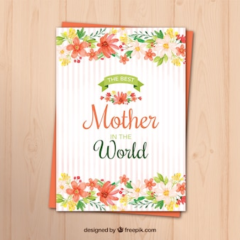 Striped greeting card with watercolor flowers for mother's day
