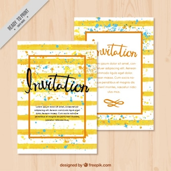 Striped invitations with colorful stains