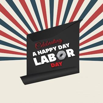 Striped labor day illustration