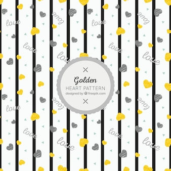 Striped pattern and golden hearts