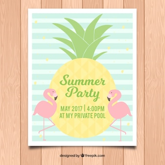 Striped poster template for summer party