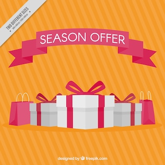 Striped sale background with white gifts and red bags