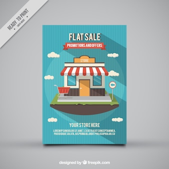 Striped sale flyer with decorative shop in flat design