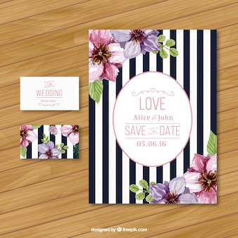 Striped wedding invitation